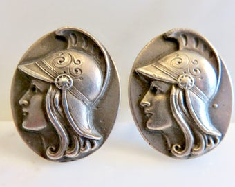 Circa 1900. Sterling Silver Roman Soldier Cuff Links