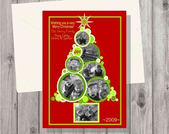 Digital Personalized Christmas Tree Photo Greeting Card Red and Green 3 to 7 Photos