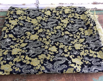 "Vintage Asian Style Fabric 70x46"" Gold Silver black metallic with Dragons"