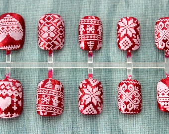Holiday Sweater Nails | Ugly Sweater Nails | Extra Small Sweater Nails | Party Nails | XS Press On Nails | Fair Isle Sweater Nail Art
