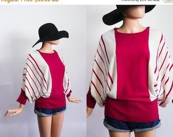 SALE Vintage Batwing Sweater / Slouchy Striped Knit Top / 80s Dolman Sleeve Jumper / 1980s Avant Garde / Magenta Pink + White Stripes / Open