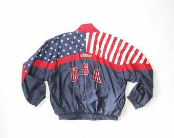 American Flag Windbreaker Jacket 80s Warm Up Stars and Stripes USA 1980s Trainer Track Jacket Zip Up America 90s Oldschool Retro 1990s