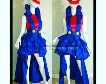 Completed set Super Mario Showgirl Burlesque Bustle skirt harness collar wrap and bandage dress Steampunk Circus Cosplay Supermario