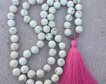 White Howlite Tassel Necklace Hand Knotted Long Bohemian Howlite Turquoise Beads Silk Tassel Boho Chic - PINKIE Handmade by SplendorVendor