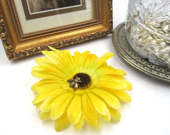 NEW Yellow Gerbera Flower Barrette - Antique Brass Bumble Bee - Hair Accessory