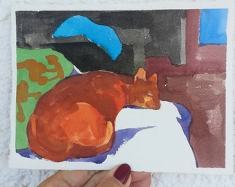 Orange cat resting- original watercolor painting