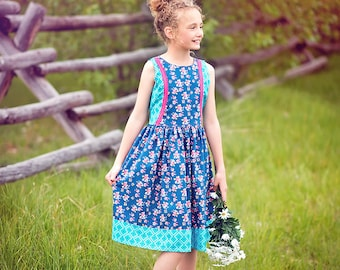Sapphire Summer Dress, blue floral dress, girls summer dress, tank dress, blue and pink dress, tween summer dress, from Melon Monkeys