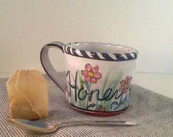 Pottery coffee Mug - hand painted - honey - majolica tea mug - majolica glaze over terracotta - buzzing bees in the garden