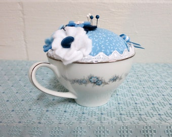 Teacup Pin Cushion, Blue Floral Vintage Teacup Pin Cushion with Blue and White Handmade Flowers, Repurposed Vintage Teacup -TCPC19