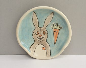 Ceramic Spoon Rest with Rabbit and Orange Carrot, Blue and Gray Bunny Spoon Rest For The Kitchen, Animal Pottery