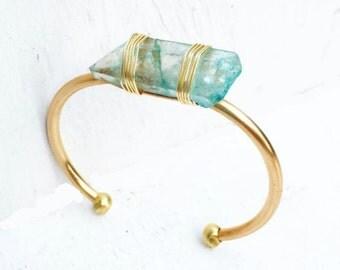 Aqua Crystal Bracelet, Blue Crystal Cuff, Gold Aqua Bracelet, Gold Cuff Bracelet, Bohemian Gemstone Bracelet, Rustic Modern, Summer Bracelet