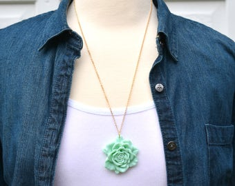 Rose Pendant, Mint Green Rose, Pink Rose, Yellow Rose, Rose Necklace, Spring Pendant, Mother's Day Necklace, Large Rose Pendant