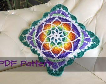 Stained glass boho crochet pillow case