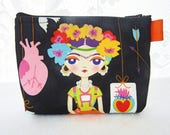 Artist Frida Kahlo Cosmetic Bag Fabric Zipper Pouch Makeup Bag Alexander Henry Fabric Gadget Pouch Self Portrait Black Colorful Dots MTO
