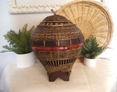 RESERVED.......Vintage Woven Basket shaped as Hot Air Ballon ~ African Jungalow lidded basket