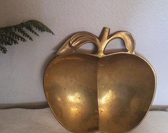 Vintage Brass Apple Dish ~ Mid Century Modern ~ large Apple trinket