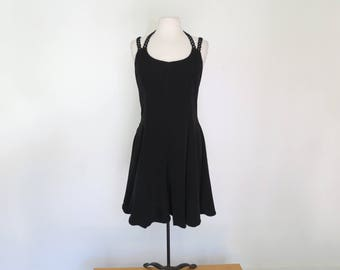 DONNA // 90s little black dress fit and flare with criss-cross double straps