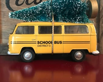 VW School Bus Carrying Christmas Tree Ornament