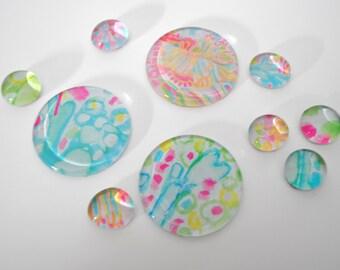 beautiful PASTEL pattern magnet or push pin set - made from recycled magazines,stocking stuffer,hostess gift, graduation, natural, botanical