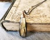 Labradorite Necklace, Sterling Silver Necklace, Natural Stone Pendant, Healing Stone, Gild Pendant, Teardrop Pendant, Amber Flash
