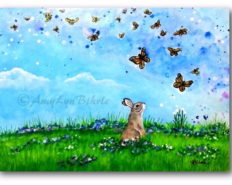 Wildlife Wonders Rabbit - Butterflies - Fantasy Art Prints by Bihrle wd266