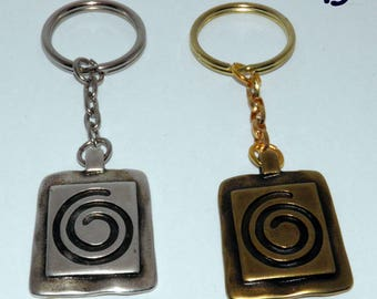Greek Spiral Keychain Silverplated or Bronze Plated - Greek souvenirs - Greek Metal charm Keyring - Gift Wrap