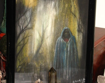 "Original Art~Pastel on Paper~""Blue Cloak""~Night Scene~Plastic Frame"