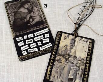 Collage Prayer Cards * Christian art * bookmarks * religious art * scripture