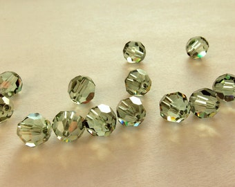 8mm Chrysolite Satin Swarovski Round Beads (12)