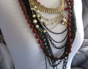 Black chains goldtone and rust beaded multi strand necklace #14