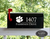 SALE!!! Clemson Tiger Paw Mailbox Street Address Number Vinyl Decal (E-004i)