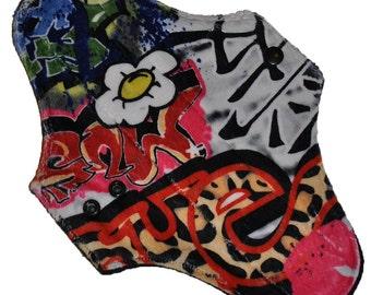 Moderate Hemp Core- Graffiti Minky Reusable Cloth Maxi Pad- 10 Inches (25.5 cm)