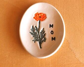 Ceramic Golden POPPY Ring Dish - Handmade Small Oval Flower MOM Ring Dish - Gift for Mom - Ready To Ship