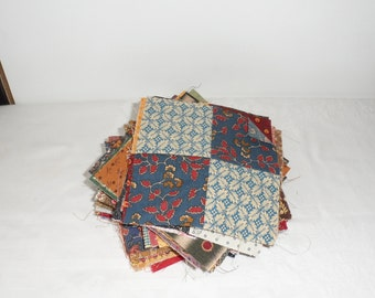 """68  4 1/2"""" Pioneer Fabric 4 Patch Blocks/100 Percent Four Patch Squares/4 Patch Squares/Four Patch Squares for Quilts/4 Patch Quilt Squares"""