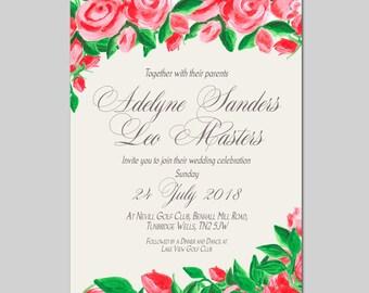 Digital Flower Hand Painted Elegant Wedding Invitation Package, DIY Wedding invitations, Printable wedding invitation 1W20