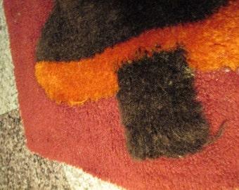 "Vintage ORIGINAL Orange Red And Brown 18"" x 46"" RUG Mid Century Hall or Area Rug With MUSHROOMS Design bathroom hall bed retro decor"