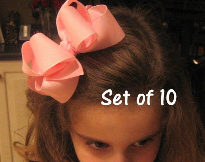 Big Hair Bows, Girls hair Bows, Double Layered Bows, Boutique Bow, Lot of 10 hairbows, Wholesale bow set, Girls Headbands, Toddler Bows, dcp