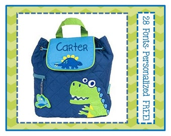 28 Fonts- Personalized Toddler DINO Quilted Backpack- Preschool/ Day Care/ Diaper Bag