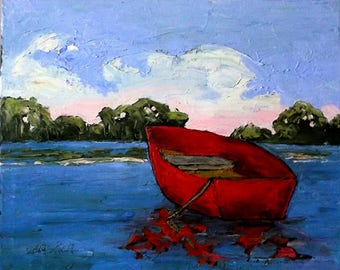 Impressionist Painting California Plein Air Lynne French Lake Landscape RED BOAT 16x20