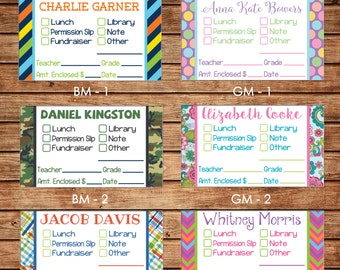 20 Rectangle Boy and Girl Personalized School Money Teacher Note Stickers Labels - Choose ONE DESIGN
