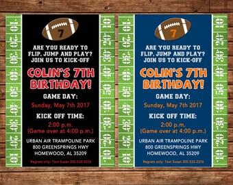 Football Field Grass Yards Tailgate Sports Varsity Party Birthday Invitation - DIGITAL FILE