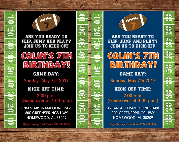 Football Field Grass Yards Tailgate Sports Varsity Party Birthday Invitation - DIGITAL FILE