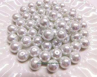 12mm White Glass Pearl Beads, White Pearl Beads, Glass Pearl Beads, Pearl Beads - 10pcs