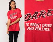 DARE T Shirt 90s Drug Shirt RESIST Drugs And Violence Red Vintage Tshirt 1990s Party Rave Anti Drug Straight Edge Medium