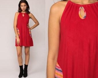 Summer Dress 70s Mini Mod Tent Trapeze RAINBOW STRIPE Boho Hippie Keyhole Retro Sundress Vintage Red Sun Sleeveless Minidress Small Medium