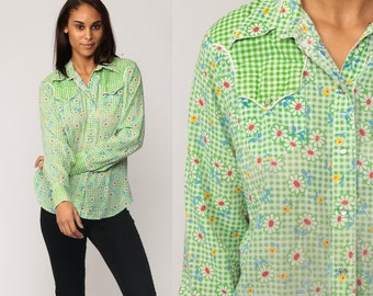 Pearl Snap Shirt Western 70s Floral Blouse Hipster Top GINGHAM Checkered 1970s Vintage Button Up Boho Long Sleeve Green Small Medium