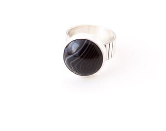 Botswana ring - botswana agate and recycled sterling silver round circle cocktail ring
