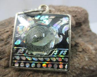 Designed Handmade Power Thai magic lai kheaw glass bead resin pendant for protective,wealthy