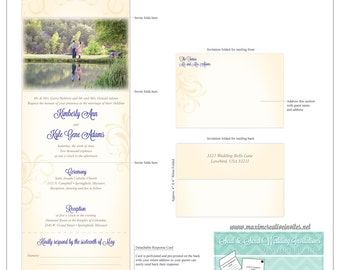 Vintage Flourish Photo Seal and Send Invitation - All In One Invitation - Perforated RSVP Card - Folding Wedding Invitation - Self Mailer