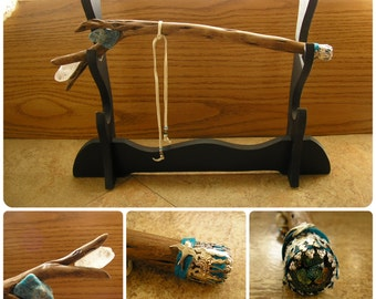 "Sage, Apatite &  Quartz Crystal Wand, 15"" long, free-form Apatite and Crystal, beaded leather cord with Celtic glass cab on the butt (#1601)"
